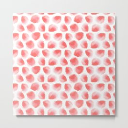 Watermelon Watercolor Polka Dot Metal Print