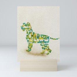 Schnauzer Dog Typography Art / Watercolor Painting Mini Art Print