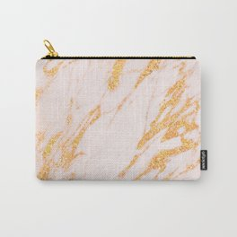 Gold Marble - Shimmery Glittery Rose Gold Marble Metallic Carry-All Pouch