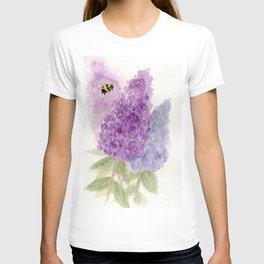Watercolor Lilacs Spring Garden Flowers T-shirt