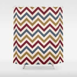 Funky Zigzag Pattern Gold Red Blue Cream Shower Curtain