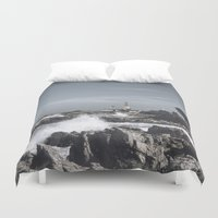 religious Duvet Covers featuring The wild sea by UtArt