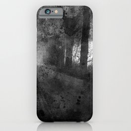Abstract black white misty landscape iPhone Case