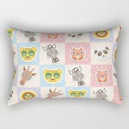 funny animals muzzle owl panda giraffe lion zebra leopard pattern with pink lilac Rectangular Pillow