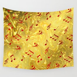 red music notes in golden festive paper background Wall Tapestry