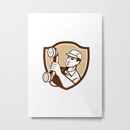 Telephone Repairman Holding Phone Shield Metal Print