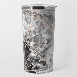 black and white agate with rose gold geometry pattern Travel Mug