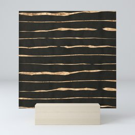 Black and rose-gold abstract stripes Mini Art Print