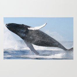 Humpback Whale Jumping High Rug