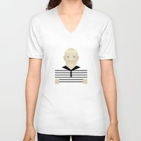 picasso V-neck T-shirts featuring Pablo Picasso by Matteo Lotti