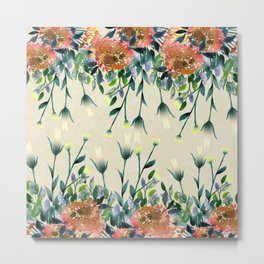 Hand painted modern ivory orange brown watercolor floral Metal Print