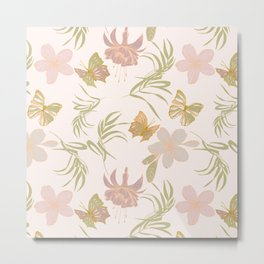 Modern Pastel Exotic Flowers And Butterfly Meadow Pattern Metal Print