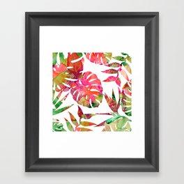 MONSTERA FLORAL - WHITE Framed Art Print