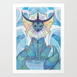Stained Glass: Vaporeon Art Print