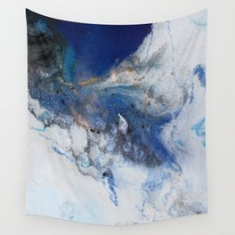 Abstract blue marble Wall Tapestry