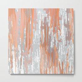 Abstract ink. Gray. metallic. orange. abstract. .minimalist. line. minimalism. lines. Metal Print