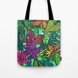 Tropical leaves, jungle print Tote Bag