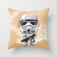 storm trooper Throw Pillows featuring STORM TROOPER by Leoren