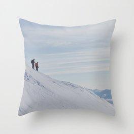 Skiers at Hatcher Pass Throw Pillow
