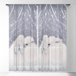 Winter Bunnies Sheer Curtain