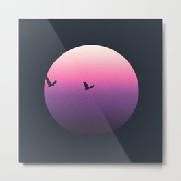Modern Pink Purple Sunset and Birds Metal Print