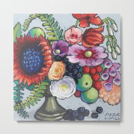 Red Sunflower Party Metal Print