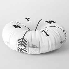 PNW Pacific Northwest Compass - Black and White Forest Floor Pillow