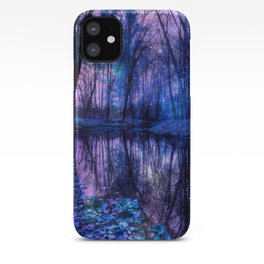 Enchanted Forest Lake Purple Blue iPhone Case