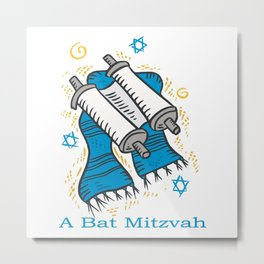 Bat Mitzvah with scroll and shawl  Metal Print