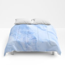 Shimmery Pure Cerulean Blue Marble Metallic Comforters