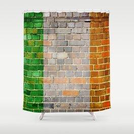 Ireland flag on a brick wall Shower Curtain