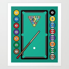 Billiards Table and Equipment Art Print