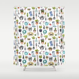 Garden Gear - Spring Gardening Pattern w/ Garden Tools & Supplies Shower Curtain