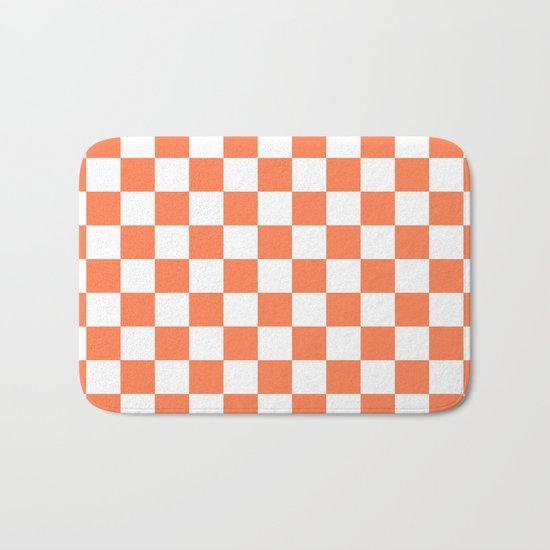 Checker (Coral/White) Bath Mat