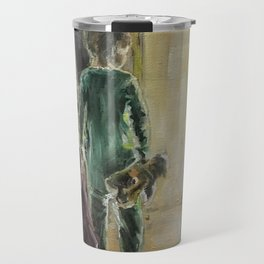 Waiting for a miracle Original oil painting on canvas Impressionism Artwork Travel Mug