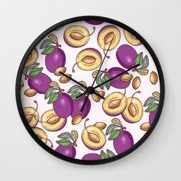 Romantic plum pattern Wall Clock