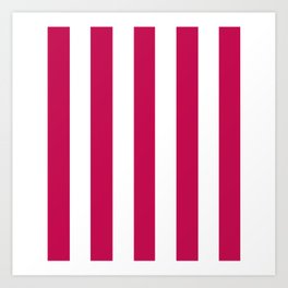 Pictorial carmine fuchsia - solid color - white vertical lines pattern Art Print