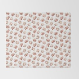 Rose Garden Vintage Rose Pink Cream and White Throw Blanket
