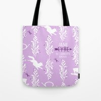 jane eyre Tote Bags featuring Jane Eyre by Jennifer Epstein