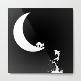 Cat on the Moon and the Koi Fish Metal Print