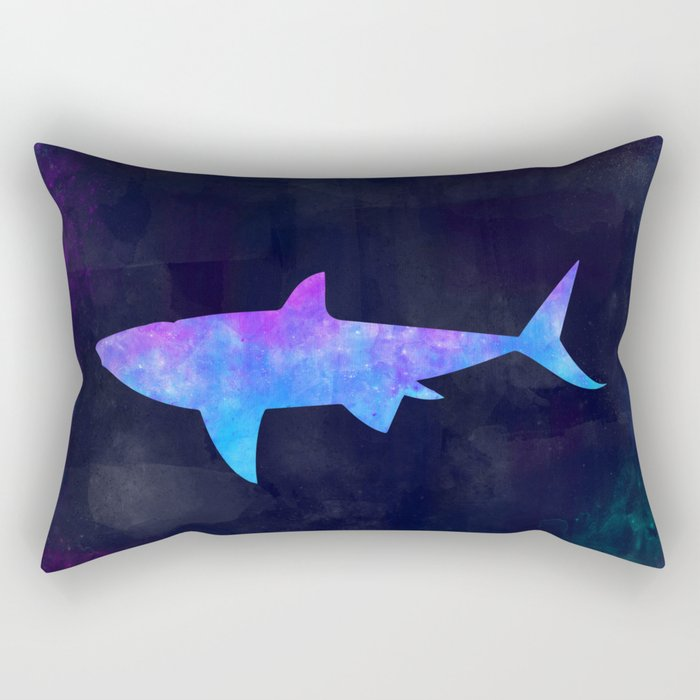 SHARK IN SPACE // Animal Graphic Art // Watercolor Canvas Painting // Modern Minimal Cute Rectangular Pillow