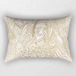 Elegant gold foil bohemian aztec feathers Rectangular Pillow