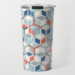 Soft Red, White & Blue Hexagon Pattern Play Travel Mug