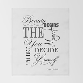 Beauty Begins The Moment You Decide To Be Yourself Quote Throw Blanket