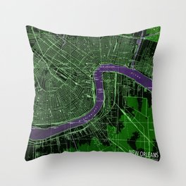 New Orleans Louisiana 1932 vintage old beautiful map Throw Pillow