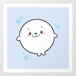 Baby Seal Kawaii Art Print