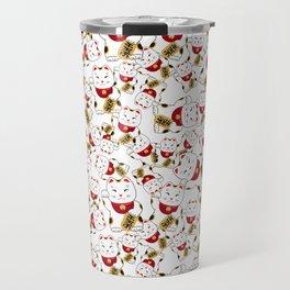 Good luck cat pattern/ red Maneki-neko Travel Mug