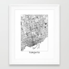Toronto White Map Framed Art Print