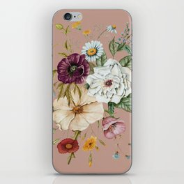 Colorful Wildflower Bouquet on Pink iPhone Skin