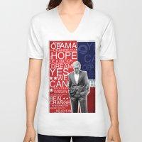 obama V-neck T-shirts featuring Barack Obama by kaseysmithcs